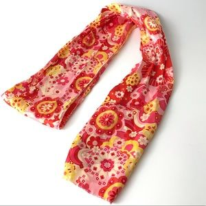 Retro 60s 90s Floral Satin Headscarf Neck Tie Belt